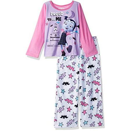 Disney Girls' Little Vampirina 2-Piece Fleece Pajama Set, Vee Pink, 6](Girls Fleece Pajamas)