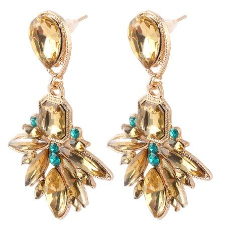 Women Metal Vintage Style Water Drops Pendant Design Stud Dangle Earrings Pair
