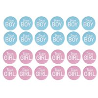 Gender Reveal Button Pins - 24-Pack Team Girl and Team Boy Pinback Badge Accessories, Baby Shower Supplies, Party Favors, 12 of Each Design, Pink and Blue, 2.2 inches