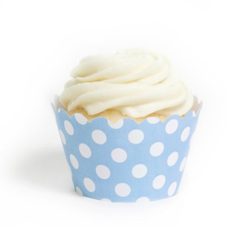 Dress My Cupcake Sky Blue Polka Dot Cupcake Wrappers, Set of 12 - Polka Dots Cupcakes
