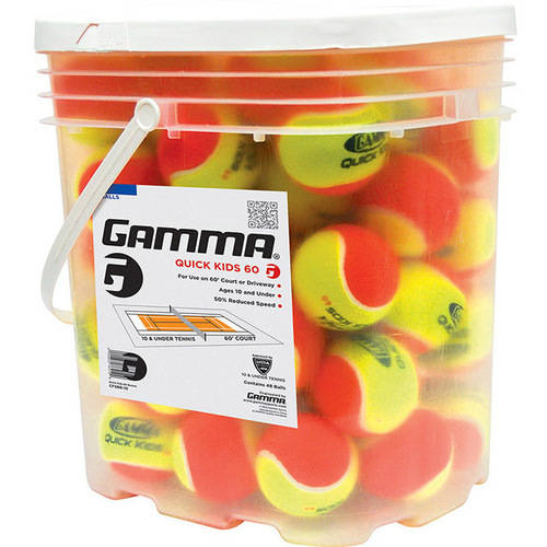 Click here to buy Gamma Quick Kids 60 Tennis Balls 48 ct Pail.