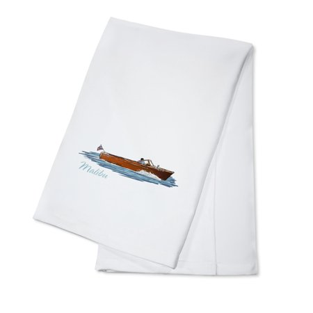 Malibu  California   Chriscraft Boat   Icon   Lantern Press Artwork  100  Cotton Kitchen Towel