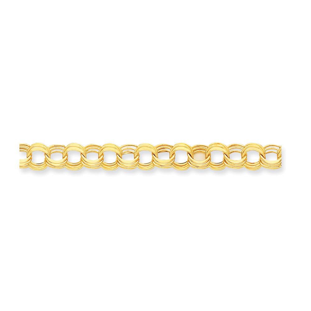 14k Yellow Gold 8in Light 0.4IN Triple Link Charm Bracelet (0.3IN x 0.4IN )