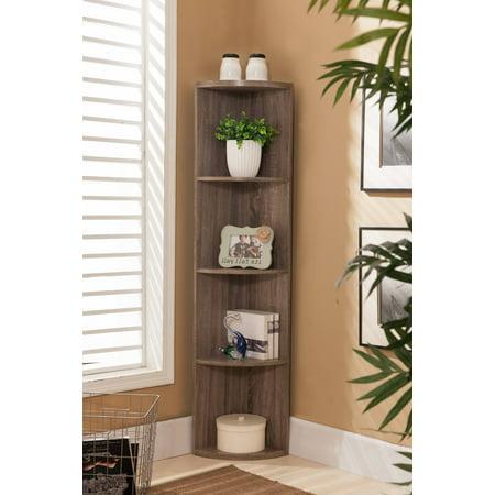 Dax Gray Wood Contemporary 5 Tier Shelf Corner Bookcase Storage Home & Office Organizer Display (Silver Display Unit)