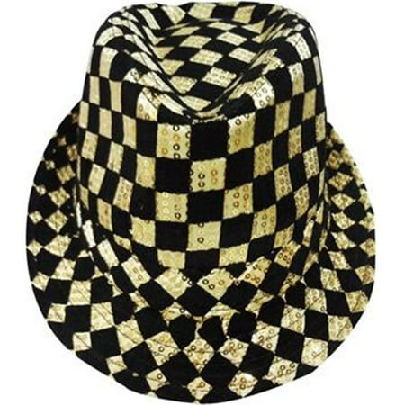 Adult Gold Checkerboard Fedora Hat By Dress Up - Dress Up Hats
