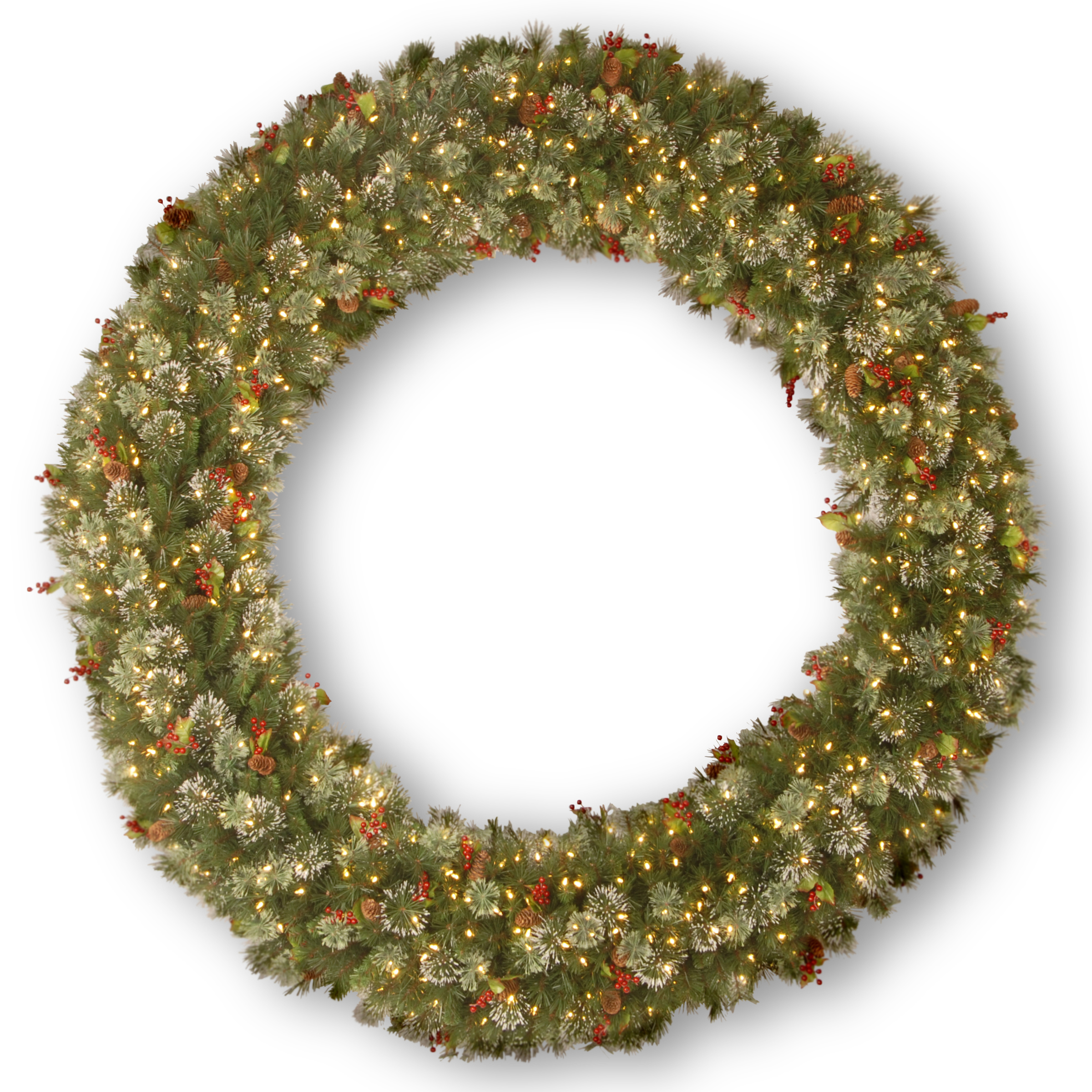 National Tree 72 Wintry Pine Wreath With Cones Red Berries Snowflakes With 400 Clear Lights Walmart Com Walmart Com