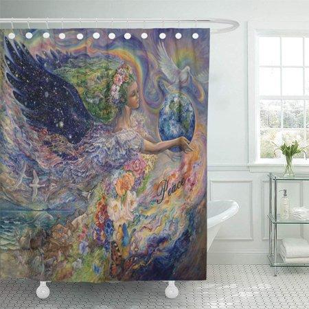 Cynlon Josephine Peace On Earth Wall Fantasy Goddess Bathroom Decor Bath Shower Curtain 60x72 Inch Walmart Com Walmart Com