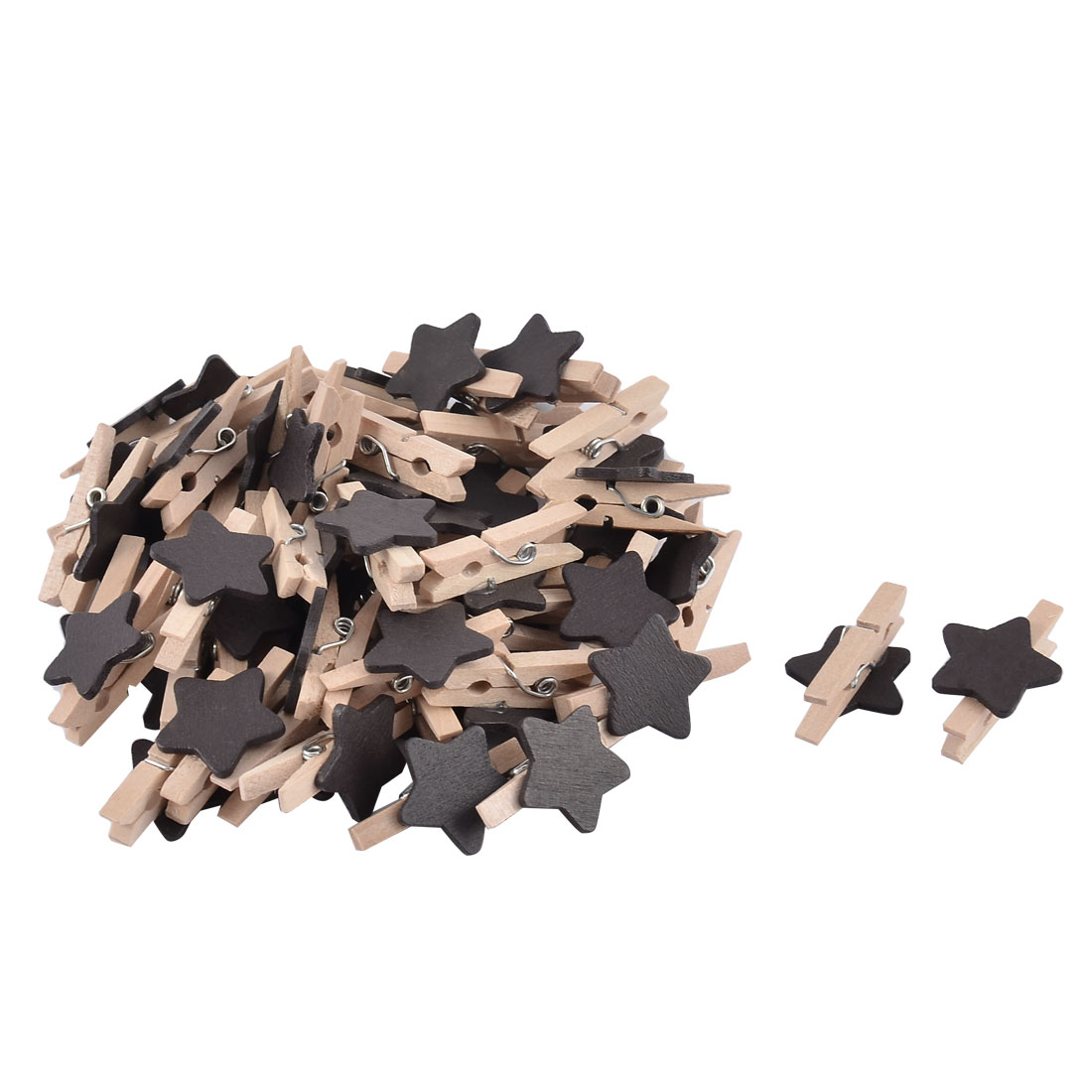 Unique Bargains Album Card Photo Spring Pegs Star shape Crafts Mini Wooden Clip Black 50pcs