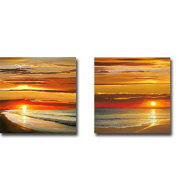 Sunset on The Water & Sunset on The Sea by Dan Werner 2-Piece Premium Gallery-Wrapped Canvas Giclee Art Set - 12 x 12 x 1.5 in. - image 1 de 1