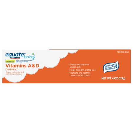 Equate Original Vitamin A and D Ointment, Diaper Rash Ointment & Skin Protectant,4 Oz