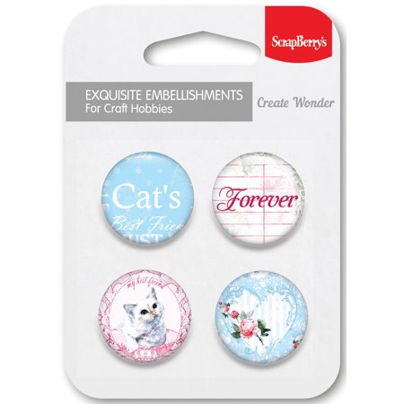 ScrapBerry's Words Live Forever Embellishments 4/Pkg-No.2 (Embellishments Word Tiles)
