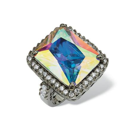 28.95 TCW Emerald-Cut Aurora Borealis Cubic Zirconia Black Rhodium-Plated Cutout Ring