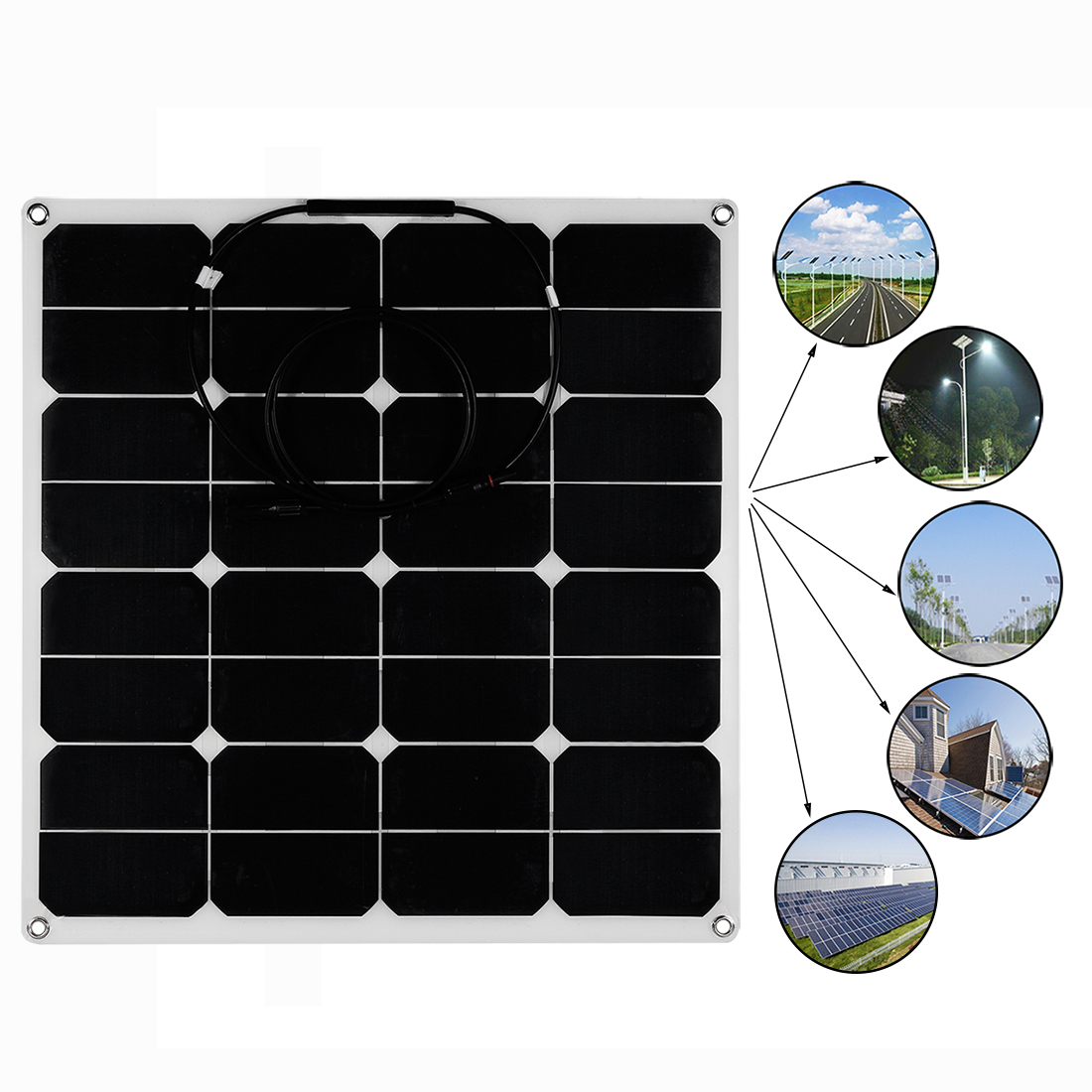 50W Solar Panel Monocrystalline Off Grid 12V RV Marine Boat with MC4 Connector - image 1 de 7