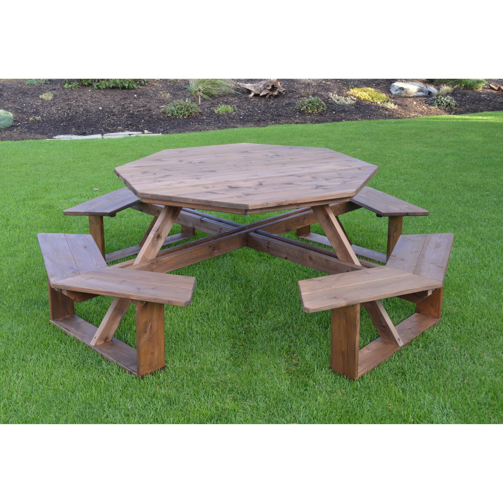 A & L Furniture 54 in. Octagon Walk-In Wood Picnic Table with Optional Umbrella Hole by A and L Furniture Co