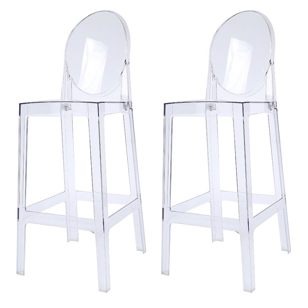 """2xhome Set of 2 30"""" Seat Height Clear Transparent Contemporary Modern Glam Barstool Modern Side Chairs Molded Plastic Bar Stool Counter Accent Lounge No Arms Kitchen With Back"""