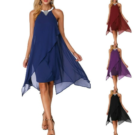 Double Layer Frocks (Women's Fashion O-neck Sleeveless Double Layer Knee Length Chiffon)