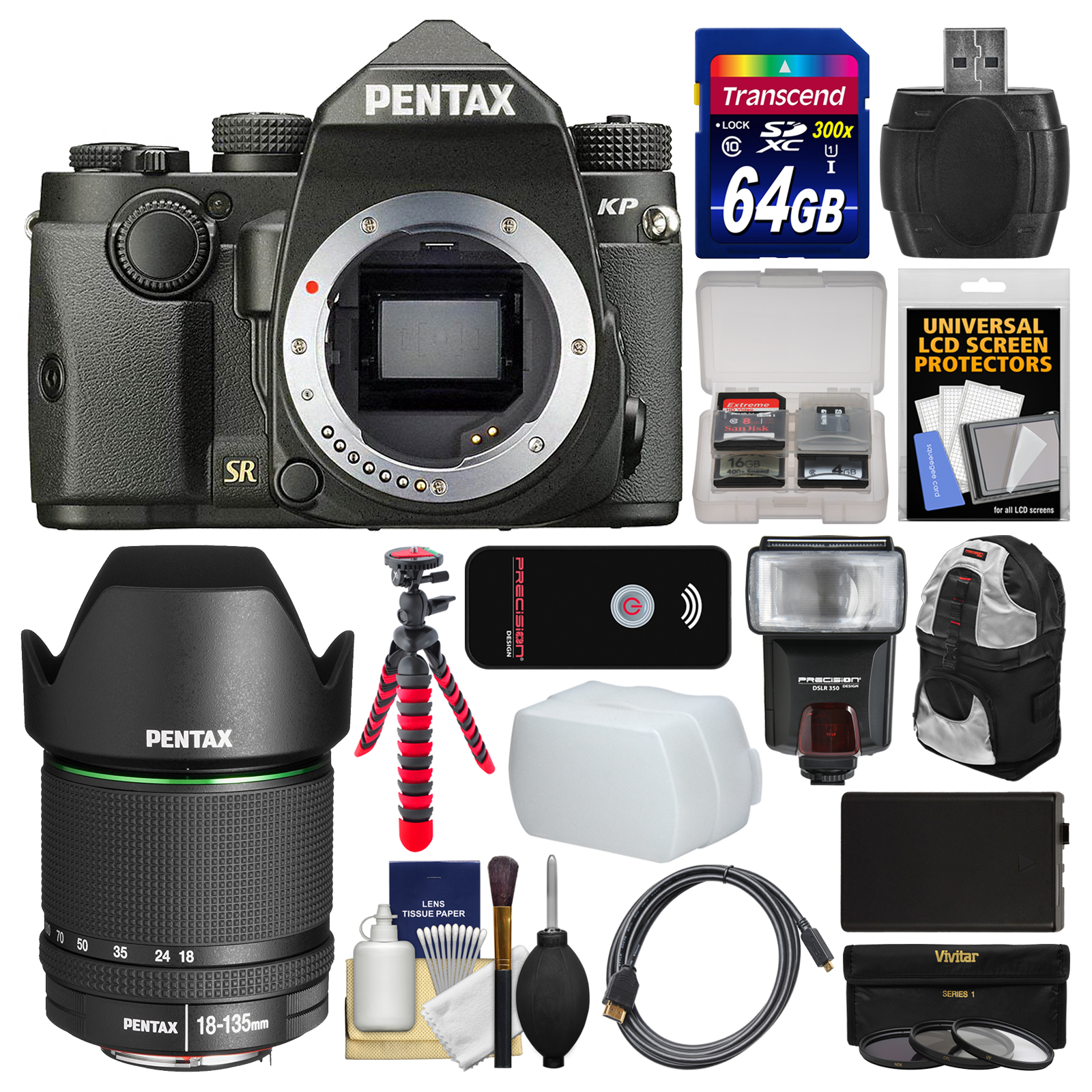 Pentax KP Wi-Fi Digital SLR Camera Body (Black) with 18-135mm Lens + 64GB Card + Backpack + Flash + Battery +... by Pentax