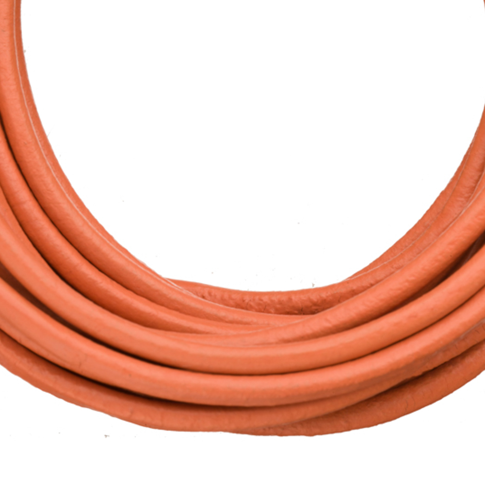 Full-Grain Genuine Leather Cord, 3mm Round Coral 5 Yard