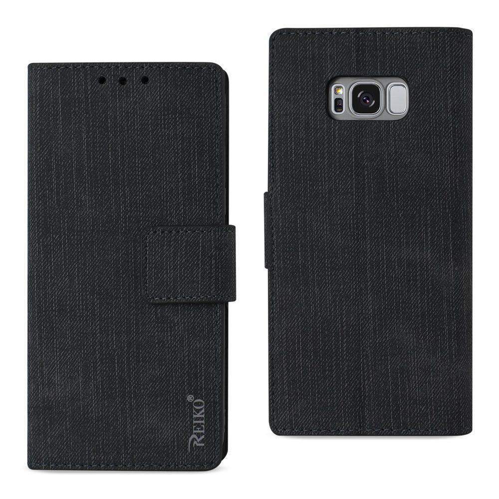 Reiko REIKO SAMSUNG GALAXY S8/ SM DENIM WALLET CASE WITH GUMMY INNER SHELL AND KICKSTAND FUNCTION IN BLACK