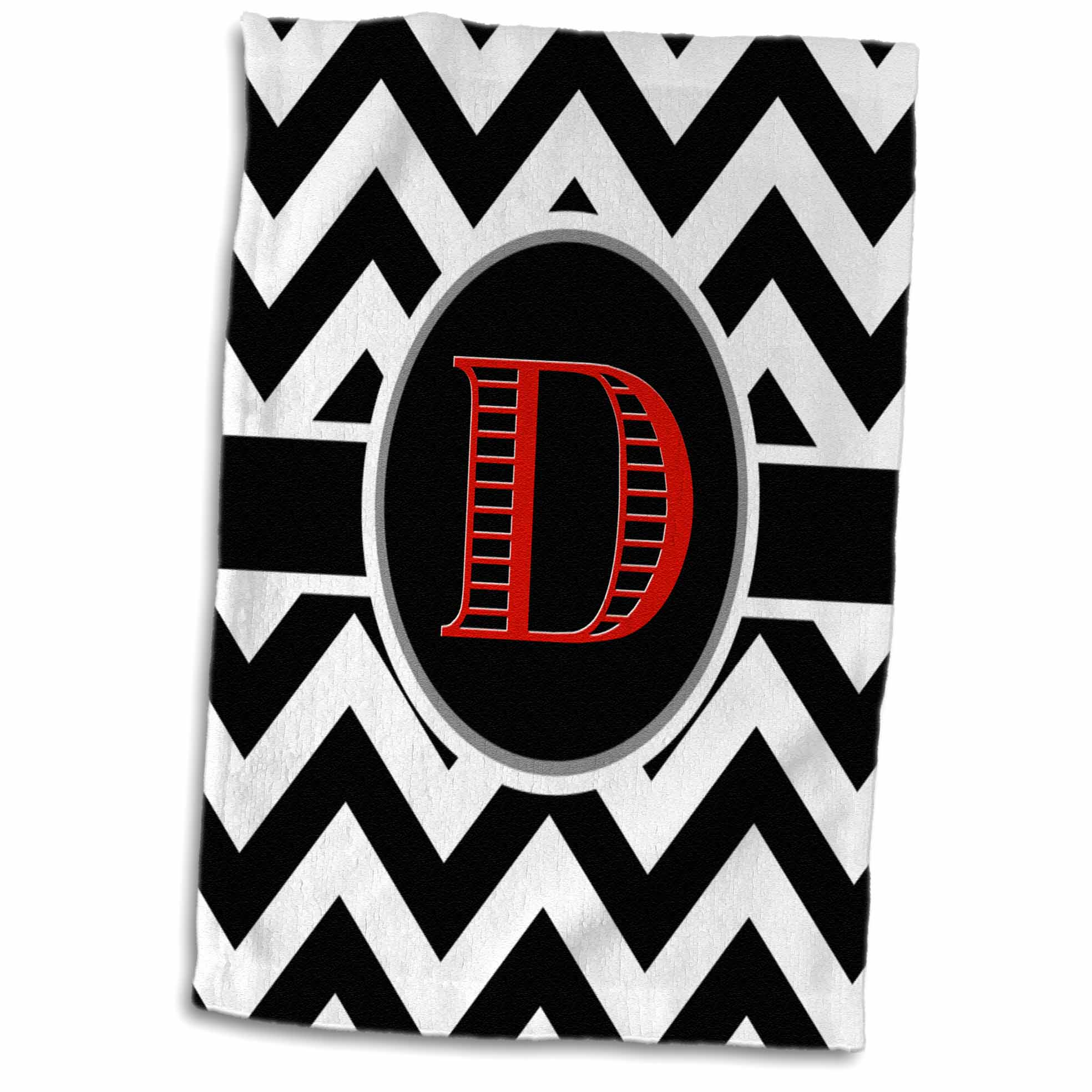 3dRose Black and white chevron monogram red initial D - Towel, 15 by 22-inch