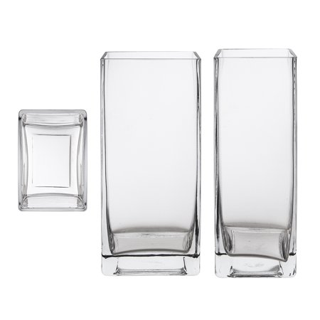 Mega Vases 3 X 4 X 9 Rectangle Block Glass Vase Set Of 1