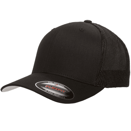 The Hat Pros Fitted Hat Mesh Cotton Twill Trucker Flexfit Cap 6511 ( Black)