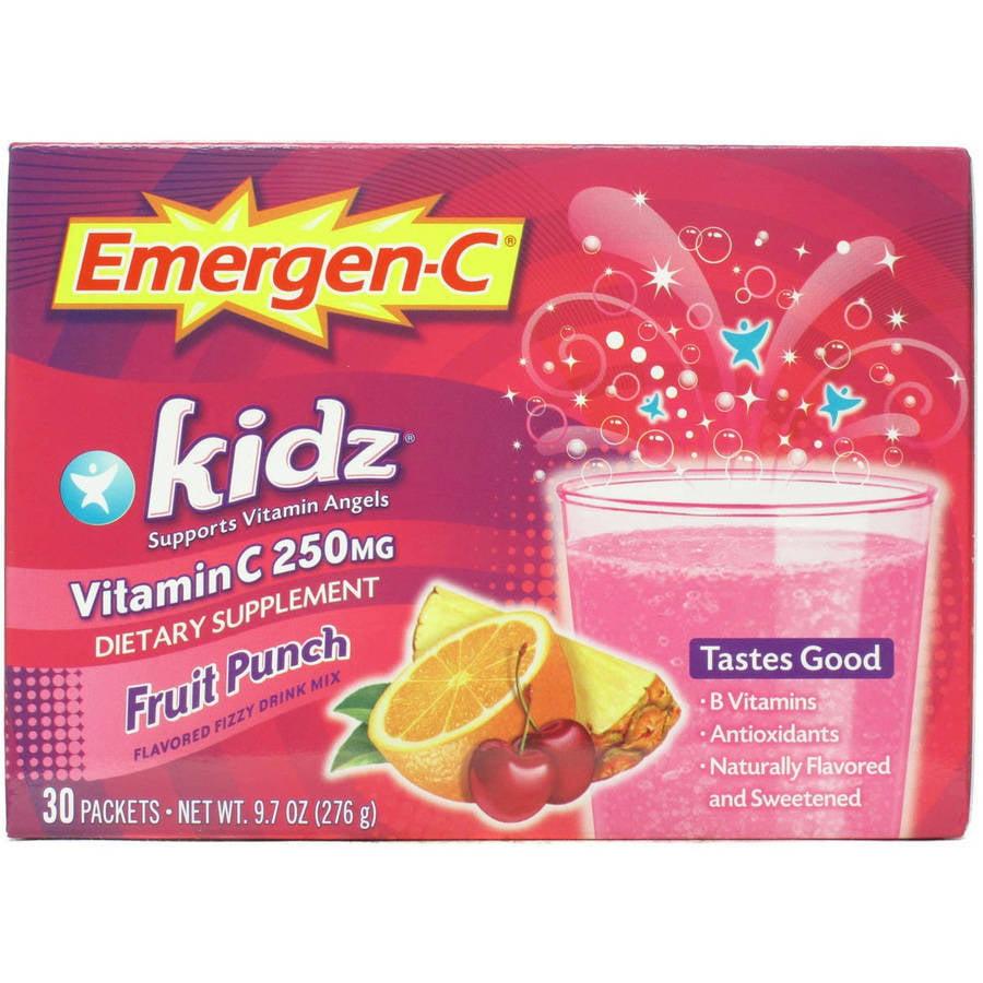 Emergen-C Kidz Drink Mix, Fruit Punch 250mg Packets, 30ct