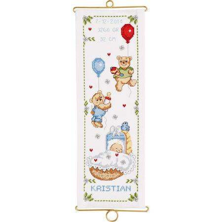 Bell Pull Cross Stitch Pattern (Permin® Happy Teddies Boy Birth Record Bell Pull Counted Cross-Stitch Kit )
