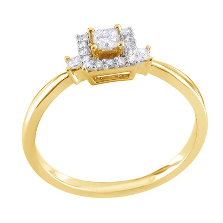 Princess Cut White Natural Diamond Three Stone Frame Promise Ring in 14k Yellow Gold (0.2