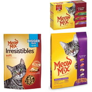 Meow Mix Dry and Wet Cat Food with Treats Bundle