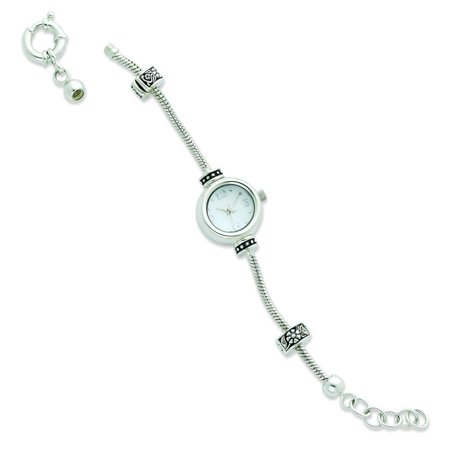 Sterling Silver Round Face Reflections Beads Watch 8