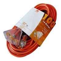 Triple Outlet 100-Ft 14 Gauge Extension Cord Indoor/Outdoor UL