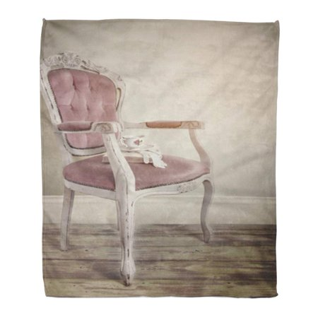 SIDONKU Flannel Throw Blanket Pink Interior Vntage Retro French Louis Xv Chair Teacup Soft for Bed Sofa and Couch 58x80 (French Louis Xv Arm Chair)