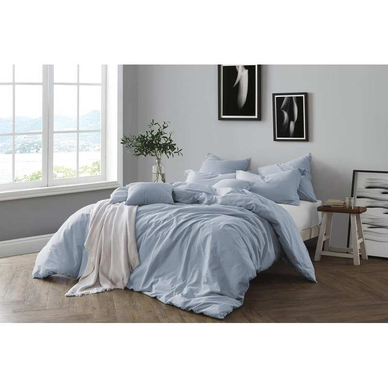Swift Home All Natural Prewashed Yarn Dye 100% Cotton Premium Wrinkled Look Chambray Duvet Cover Set
