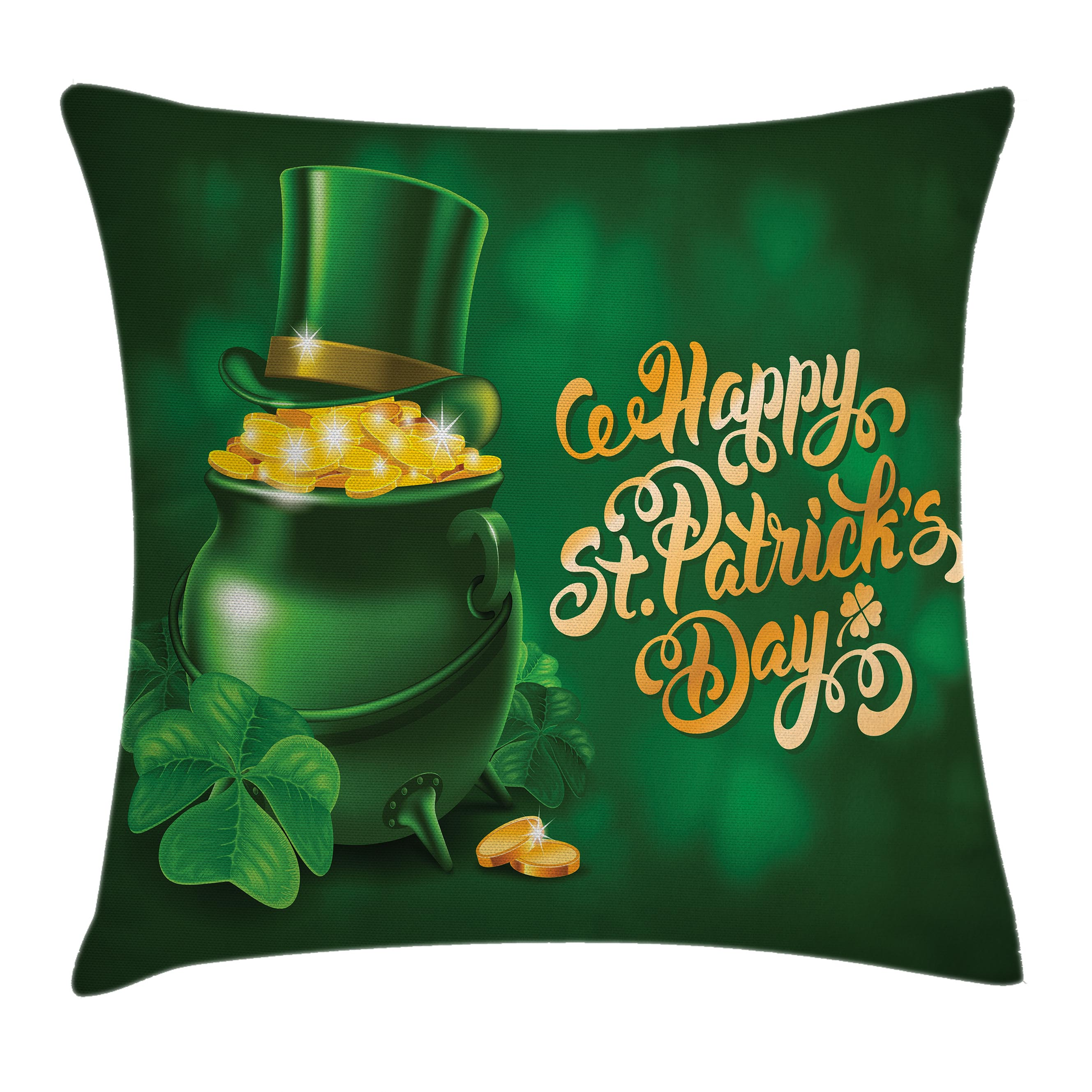 St. Patrick's Day Throw Pillow Cushion Cover, Large Pot of Gold Leprechaun Hat and Shamrocks Greetings 17th March, Decorative Square Accent Pillow Case, 18 X 18 Inches, Gold and Emerald, by Ambesonne