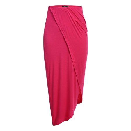 Women Fashion High Waist Asymmetrical Solid Warp Front Pencil Long Skirt HFON