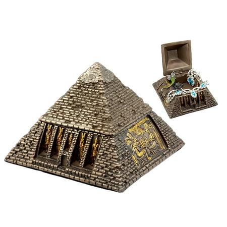 Ebros Bronzed Ancient Egyptian Gods & Deities Pyramid Jewelry Box Figurine Decorative Small Trinket Box Statue