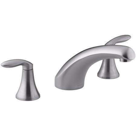 KH-K-T15290-4-G Coralais deck-mount bath faucet trim with 8u0022 spout and lever handles, valve not included Brushed Chrome