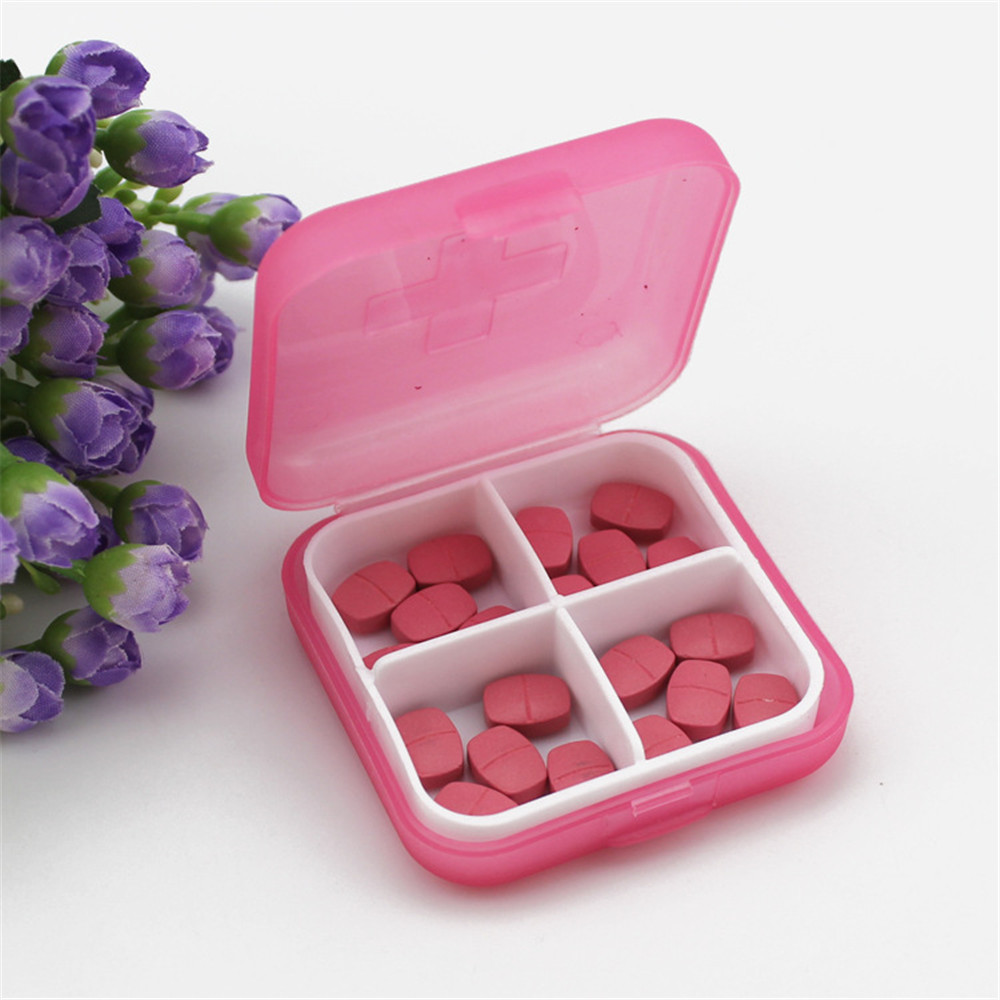 Mini 4 Slots Portable Medical Pill Box Drug Medicine Case Organizer
