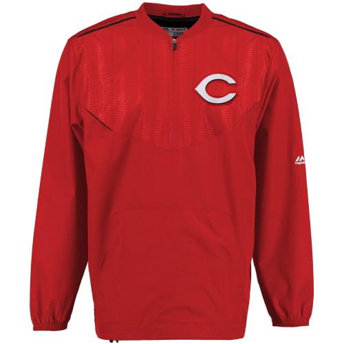 Men's Majestic Red Cincinnati Reds On Field Cool Base Training Half-Zip Jacket by MAJESTIC LSG