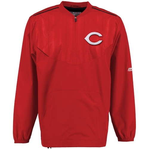 Men's Majestic Red Cincinnati Reds On Field Cool Base Training Half-Zip Jacket