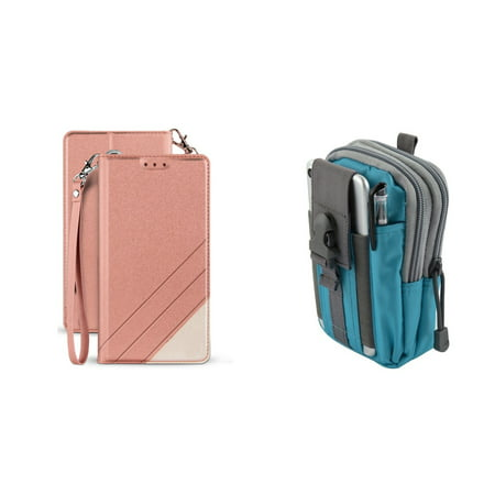 BC Synthetic PU Leather Magnetic Flip Cover Wallet Case (Rose Pink) with Blue Gray Tactical EDC MOLLE Waist Pouch and Atom Cloth for Samsung Galaxy J3 Achieve