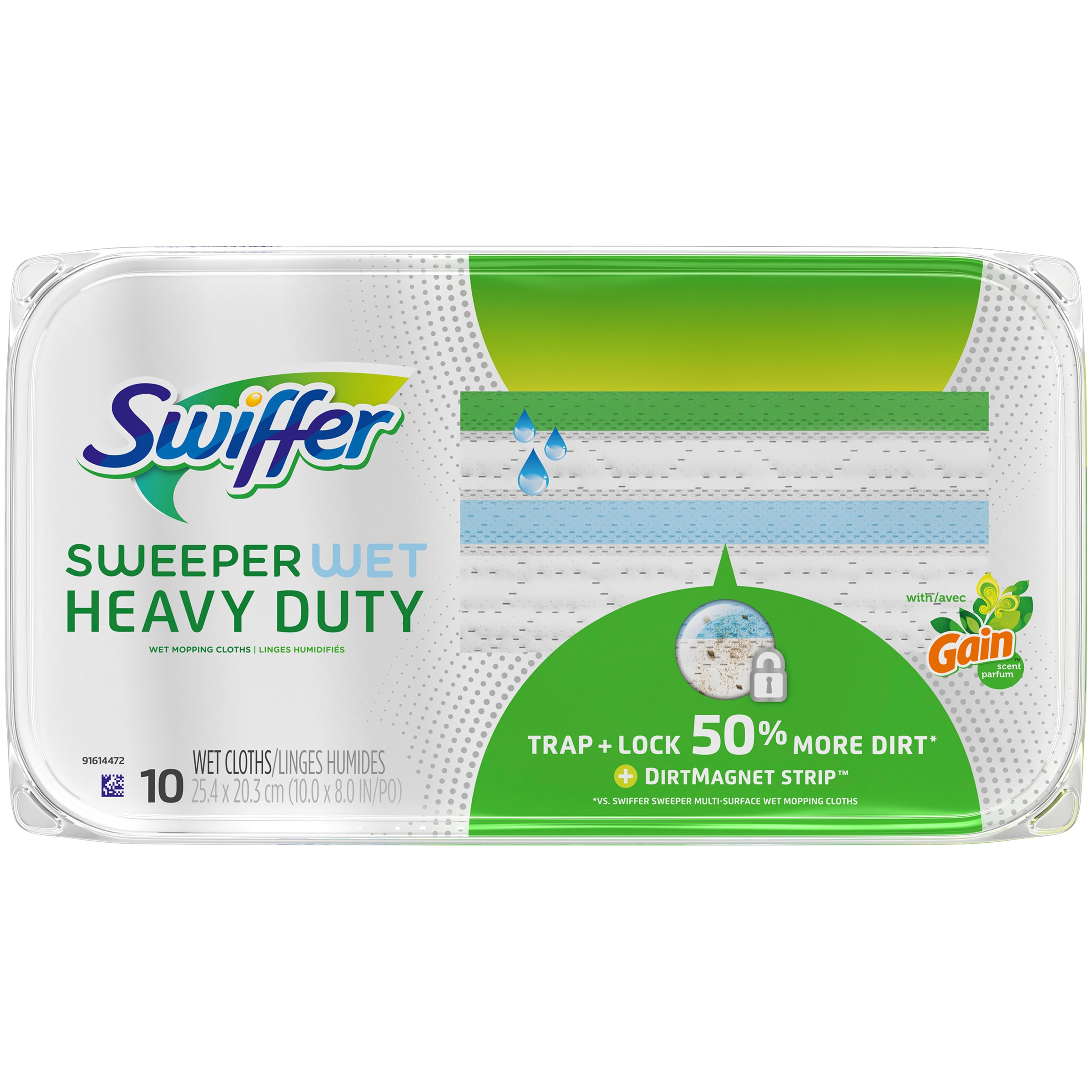 Swiffer Sweeper Wet, Heavy Duty Mopping Cloths, Original Gain Scent, 10 count
