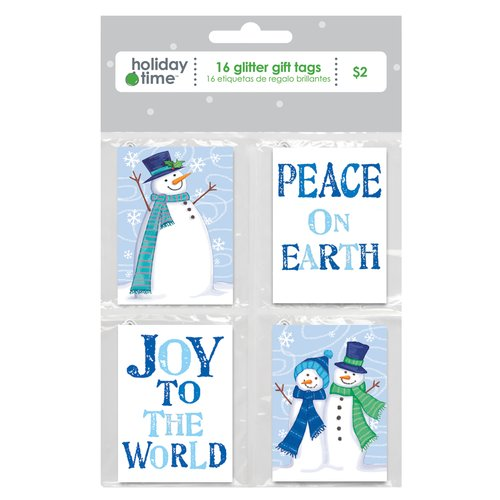 Holiday Time Quartet Blue Gift Tags, 16-Pack
