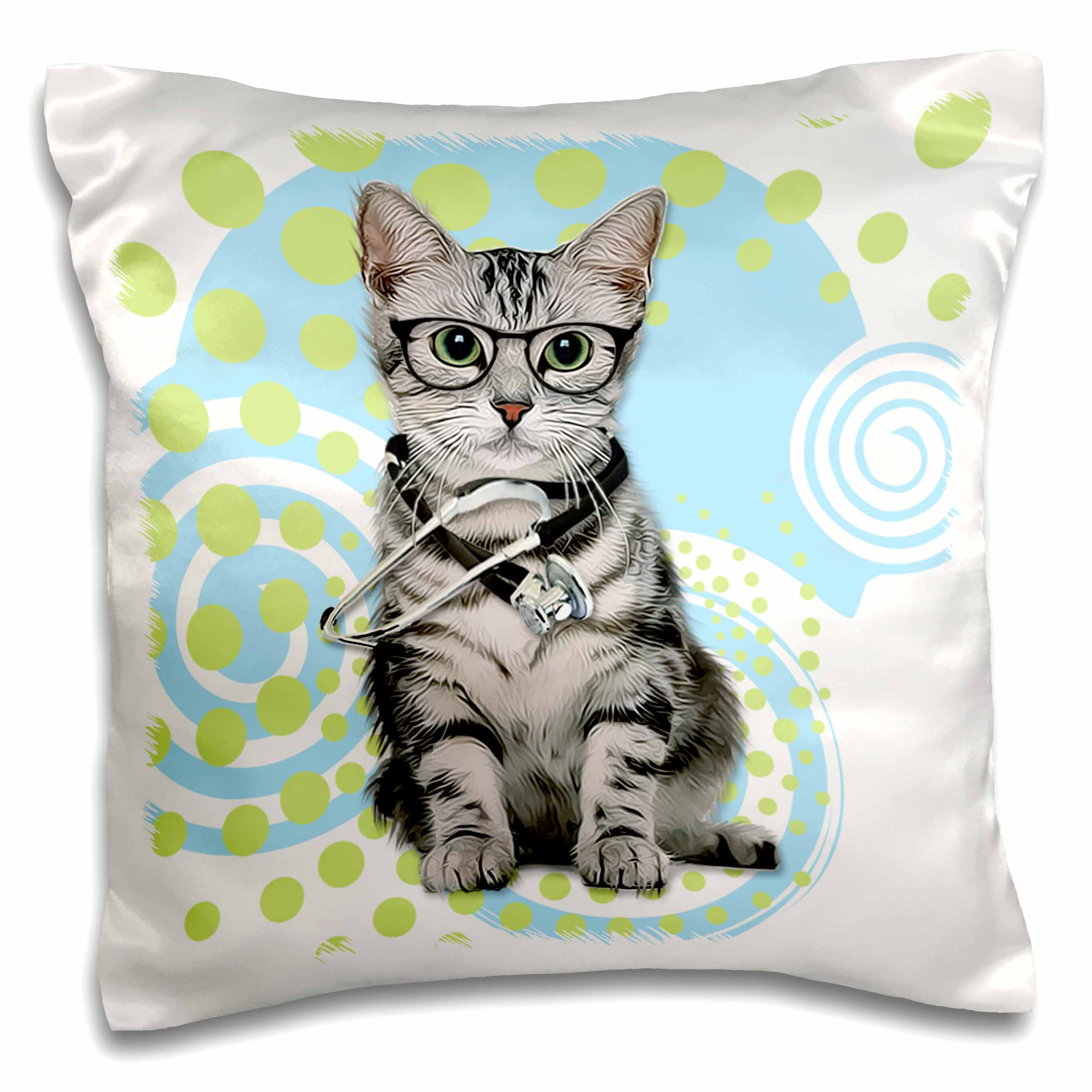 3dRose Silver Tabby Cat in Eyeglasses with a Stethoscope Doctor - Pillow Case, 16 by 16-inch
