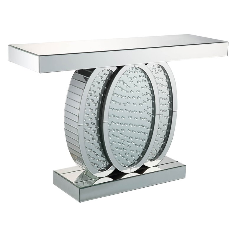 ACME Nysa Console Table in Mirrored and Faux Crystals by Acme Furniture
