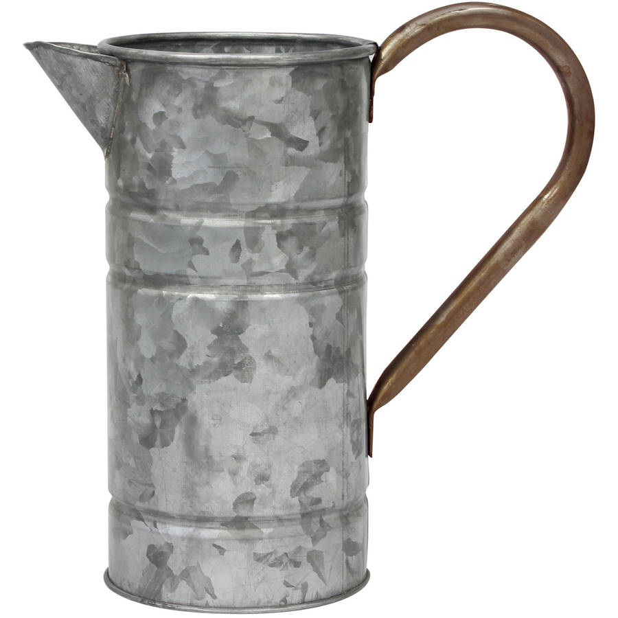 Farmhouse Galvanized Metal Drinking Pitcher with Handle
