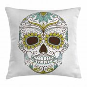Sugar Skull Decor Throw Pillow Cushion Cover, Folk Calavera Elements Floral Day of the Dead Theme Figure, Decorative Square Accent Pillow Case, 16 X 16 Inches, Apple Green Brown Seafoam, by Ambesonne