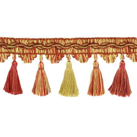 Tribal Flame Trim (Veranda Collection 3.5 Inch Tassel Fringe Trim - Beachwood Gold, Red, Paprika, Style# VTF035, Color: Grandeur Flame - VNT33,  Sold By the)