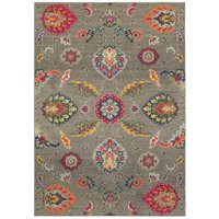 """Bohemian 191J5 Grey and Multi Floral Area Rug 2'7""""X10'"""